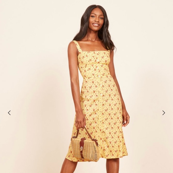 49804650144 REFORMATION PERSIMMON SZ 0 YELLOW FLORAL DRESS. M 5b896345e9ec899be8542f93